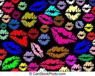 Colorful lips prints - Colorful lips print on black texture...