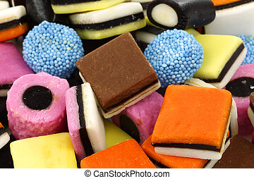 colorful liquorice all sorts - background of sweet, tasty...