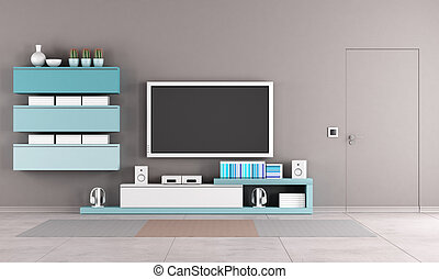 Colorful living room with tv stand
