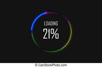 Colorful loading circle. Progress loading bar UI indicator. Loading text. Loading progress animation web design template