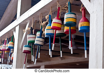 Colorful Lobster Trap Bouys - Colorful wooden lobster trap ...