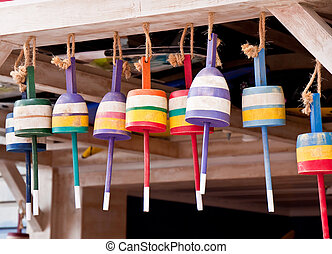 Colorful Lobster Trap Buoys Hanging