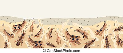 Colorful locusts attacking plants field horizontal ...