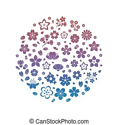 Colorful logo blossom flowers silhouettes isolated on white background