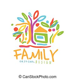 Colorful logo for family business with house and trees -...