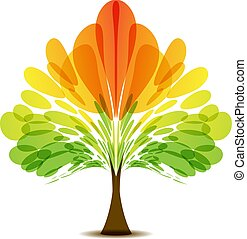 Colorful logo of abstract autumn tree, art icon tree