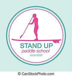 Colorful logo template for stand up paddling. Vector...