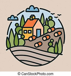 Colorful logotype with rural or countryside landscape, farm building, hills and field in modern line art style. Round logo with country house isolated on light background. Vector illustration.