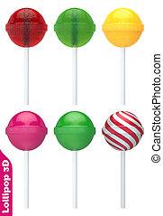 Colorful Lollipop 3D Set