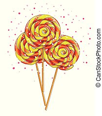 Colorful lollipop candies isolated on white.