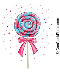 Colorful lollipop candy, cartoon vector illustration.
