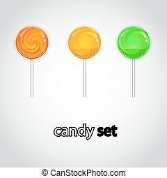 Colorful lollipop candy collection.
