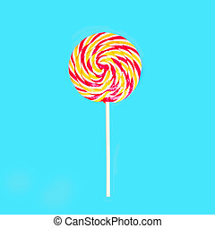 Colorful lollipop caramel on stick over blue background top view