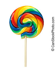 Colorful appetizing lollipop isolated on white background with clipping path