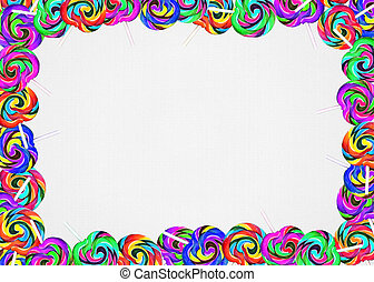 colorful lollipop frame on textured background