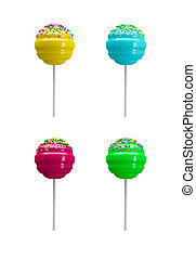 colorful lollipop sweet candy isolated on white 3d rendering