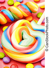 Colorful lollipops and smarties. Macro