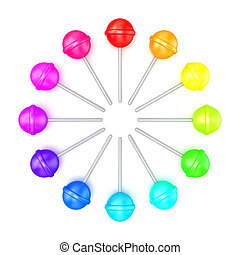 Colorful lollipops, circle arranged