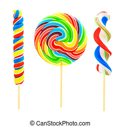 Colorful lollipops isolated - Three unique lollipop candies...