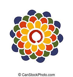 Colorful Lotus and Zen circle illus - Colorful lotus flower...
