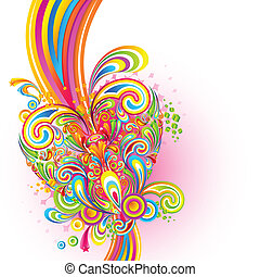 Colorful Love Background - illustration of colorful swirl in...