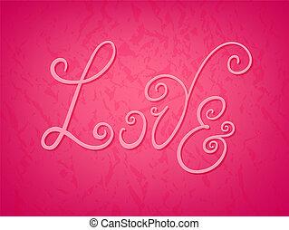 "Colorful ""Love"" hand drawn flourish inscription card"