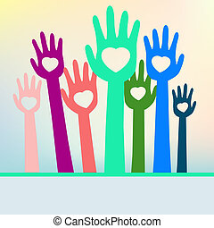 Colorful loving hands with copy space. EPS 8 vector file...