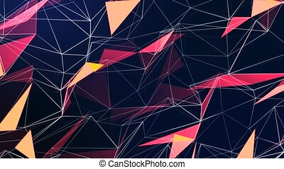 Colorful low poly Colored triangles gradient loop background texture Polygonal. Cell phone, marketing material, website backdrop, presentation, information, technology, website, poster, business.