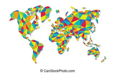Colorful low poly world map geometric concept