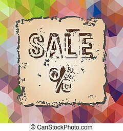 colorful low polygonal triangles pattern with old piece of paper sale eps10