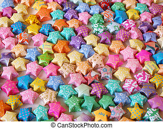 colorful lucky stars, handmade paper products