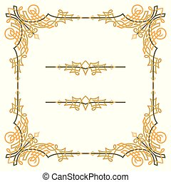 Colorful luxury border, wire frame beautifully blended