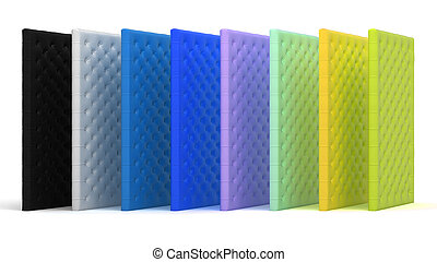 Colorful luxury mattresses over white