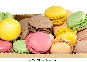 Delicious and fresh French macarons a typical dessert in France .