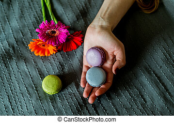 colorful macaron in female hand