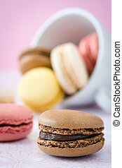 colorful Macarons out of a cup