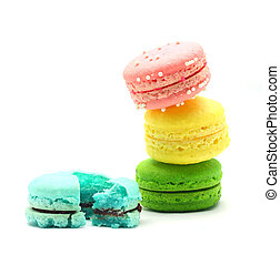 Colorful macaroon stack isolated on white background