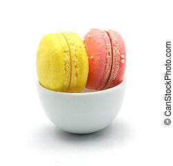 Colorful macaroon with bowl