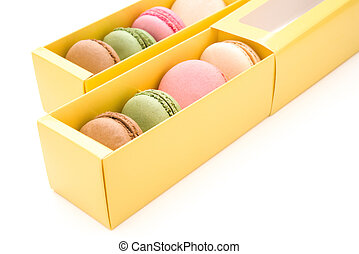 colorful macaroons in boxes with clipping path