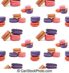 Colorful macaroons isolation on a white pattern background seamless design