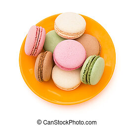 colorful macaroons on plate with clipping path