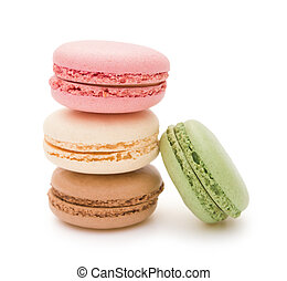 colorful macaroons on white background with clipping path