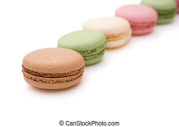 colorful macaroons on white with clipping path