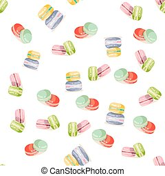 Colorful macaroons seamless pattern.