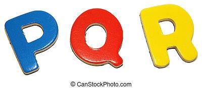 Colorful Magnetic Letters P Q R