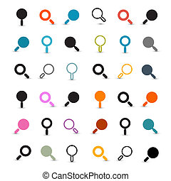 Colorful Magnifying Glass Icons Set