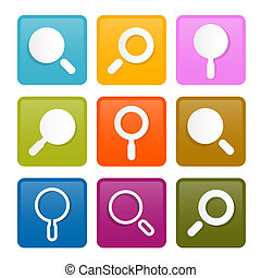 Colorful Magnifying Glass Square Icons Set Isolated on White Background