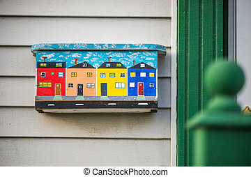 Colorful mailbox in St. Johns, Newfoundland, Canada