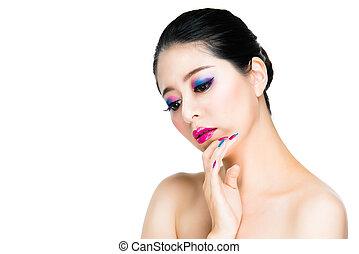 colorful make-up and nails