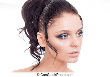 Colorful make-up woman face, beautiful brunette summer makeup, beauty fashion girl model with pink lips